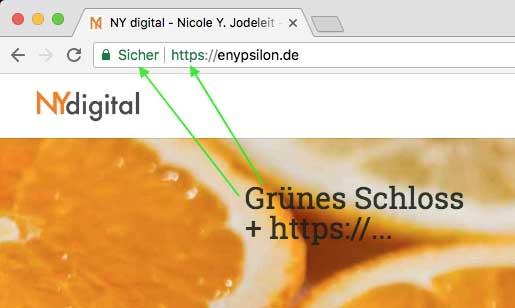 Browser TLS/SSL (https://) und grünes Schloss