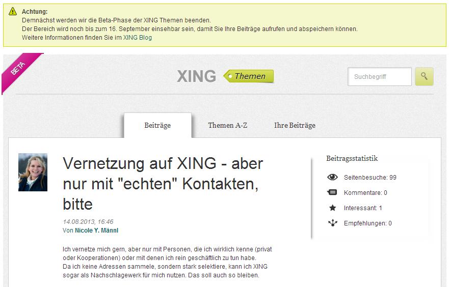 """My Blog is my Castle – und Gold wert! XING stellt """"Themen"""" ein"""